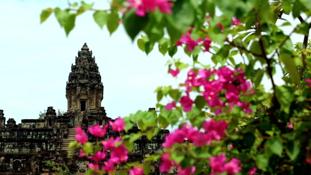 Bakong Temple In Siem Reap With Flowers, Cambodia