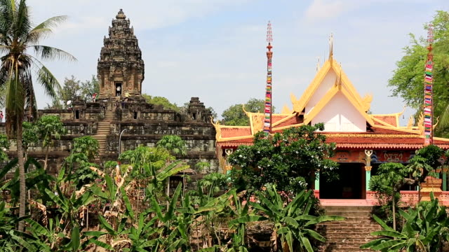 bakong temple in siem reap with flowers, cambodia - phnom penh stock videos and b-roll footage