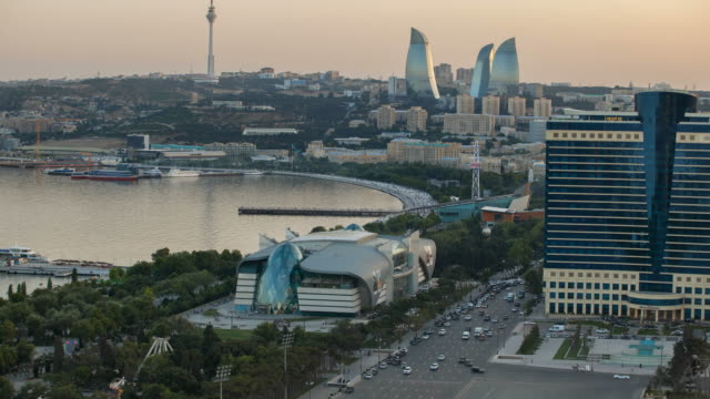 h/a baku day to night transition - baku video stock e b–roll