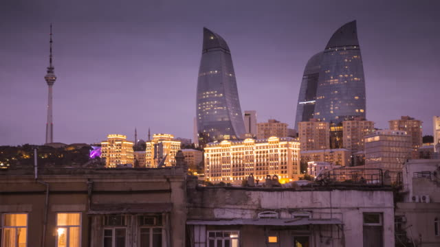 baku skyline timelapse - baku video stock e b–roll