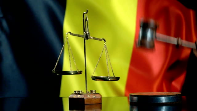 balance and gavel with belgian flag - justice concept stock videos & royalty-free footage
