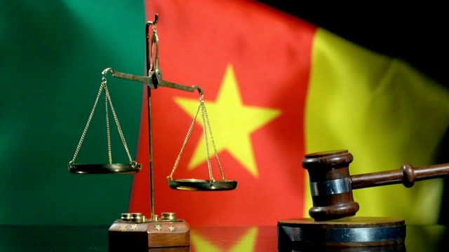 balance and gavel with cameroon flag - courthouse stock videos & royalty-free footage