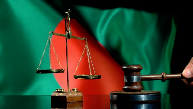 balance and gavel with flag of bangladesh - flag of bangladesh stock videos & royalty-free footage