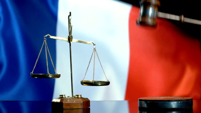 balance and gavel with french flag - justice concept stock videos & royalty-free footage