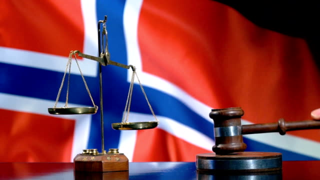 balance and gavel with norwegian flag - traditionally norwegian stock videos & royalty-free footage