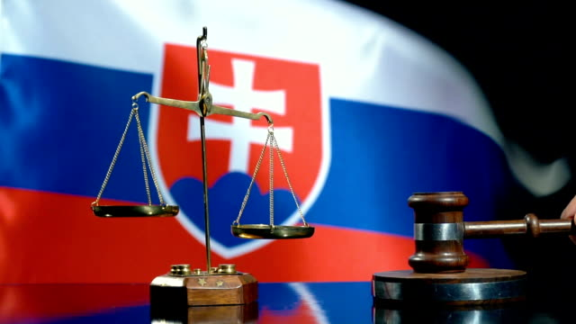 Balance and Gavel with Slovakian Flag