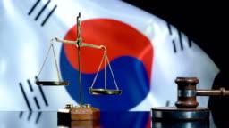 Balance and Gavel with South Korean Flag
