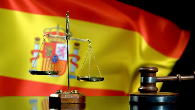 balance and gavel with spanish flag - spanish flag stock videos and b-roll footage