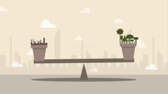 gleichgewicht zwischen natur und umweltverschmutzung (konzept der globalen erwärmung) - wippe stock-videos und b-roll-filmmaterial