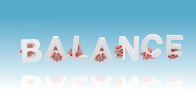 balance in white cardboard letters - single word stock videos & royalty-free footage