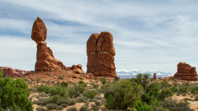 balancing rock at arches national park, utah - sandstone stock videos & royalty-free footage