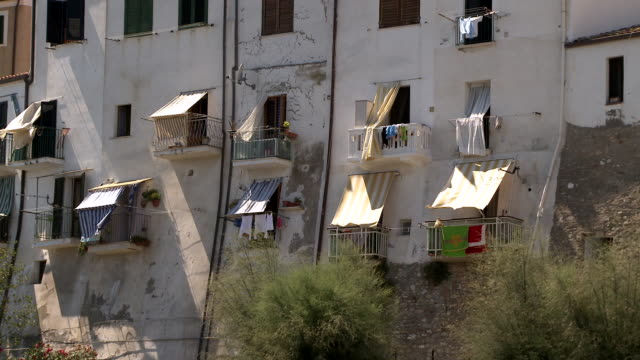ms balconies of buildings / termoli, molise, italy  - balcony stock videos & royalty-free footage