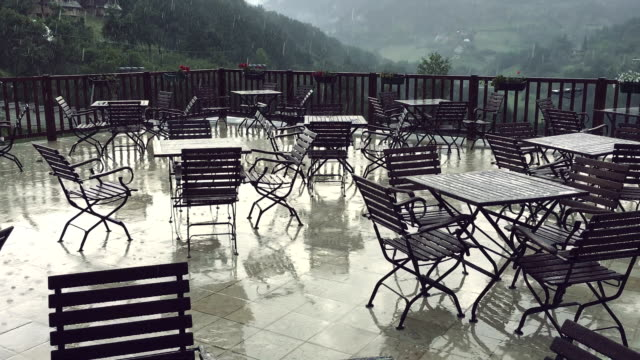 balcony on a rainy day - patio stock videos & royalty-free footage