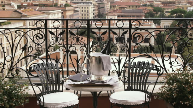 ms balcony with champagne on table / rome, italy - luxus hotel stock-videos und b-roll-filmmaterial