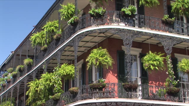 ms balcony with potted plants, french quarter, new orleans, louisiana, usa - new orleans stock videos and b-roll footage