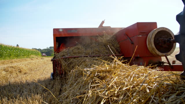 ms baler producing hay bales - agricultural equipment stock videos & royalty-free footage