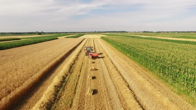 aerial baler producing rectangular bales - hay stock videos & royalty-free footage