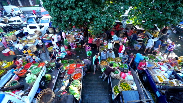 bali fresh market with a lot of people in Ubud, indonesia.