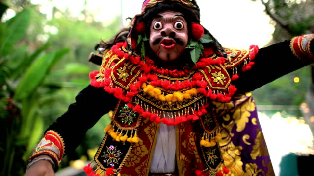 balinese asian magical clown mask figure culture performance - balinese culture stock videos & royalty-free footage