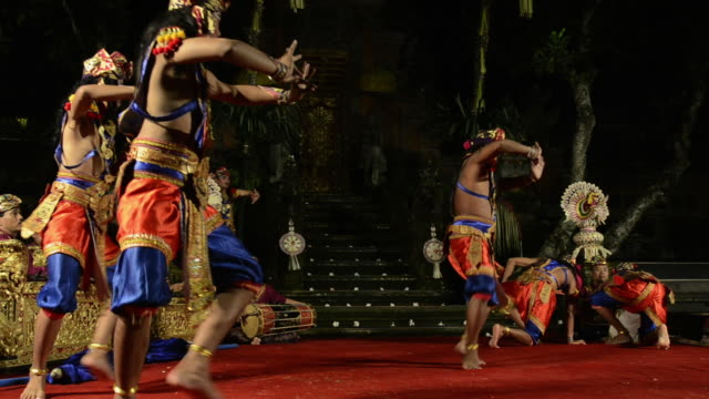 ms balinese dancer are performing tari satya brasta dance ( warrior dance ) in puri saraswati temple audio / ubud, bali, indonesia, asia - ubud district stock videos & royalty-free footage