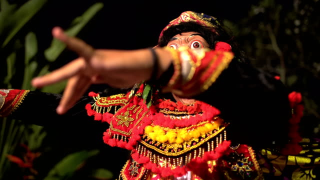 Balinese magical clown mask figure in culture performance