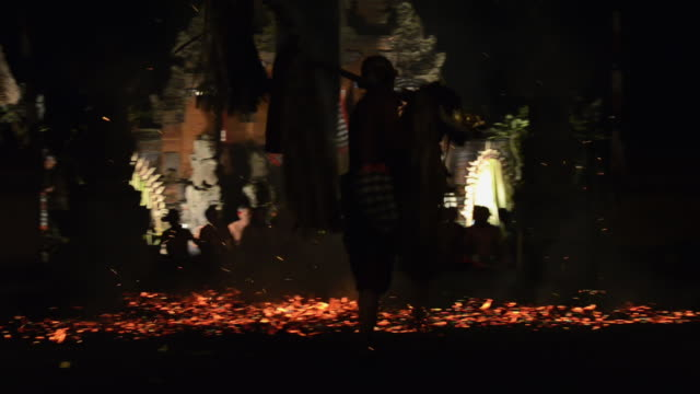 ms ts balinese performing kecak fire trance dance in temple at night audio / ubud, bali, indonesia - balinese culture stock videos & royalty-free footage