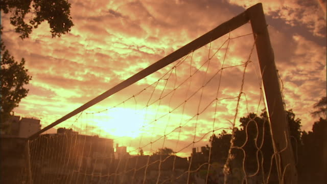 slo mo, ms, ball falling into goal post net, buenos aires, argentina - argentina stock videos and b-roll footage