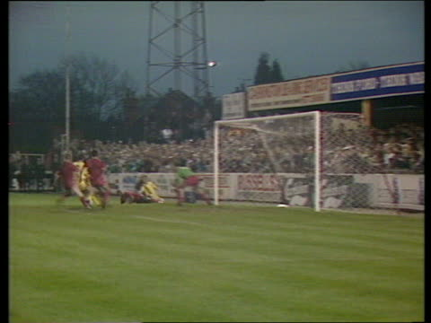 ball falls for northampton midfielder trevor quow six yards out but he blasts wildly over kettering town vs northampton town fa cup 1st round... - northampton england stock videos & royalty-free footage
