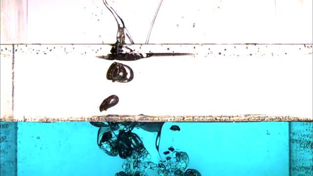 vídeos de stock, filmes e b-roll de a ball splashes through two layers of liquid in a tank as bubbles rise to the surface. - tensão de superfície