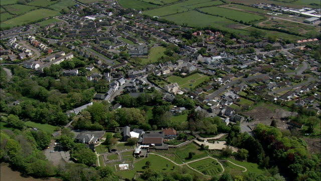 ballasalla - aerial view -, isle of man - isle of man stock videos & royalty-free footage