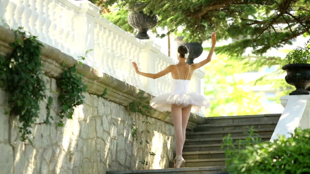 ballerina dancing on a park stairs