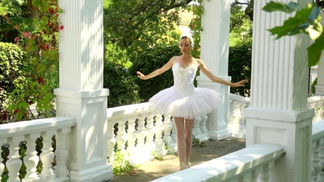 vídeos de stock, filmes e b-roll de vestido como uma bailarina dança swan - teatro clássico