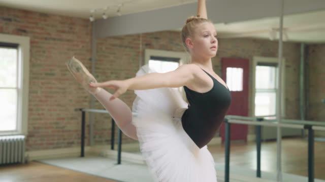 ballerina freeform dancing - elastane video stock e b–roll