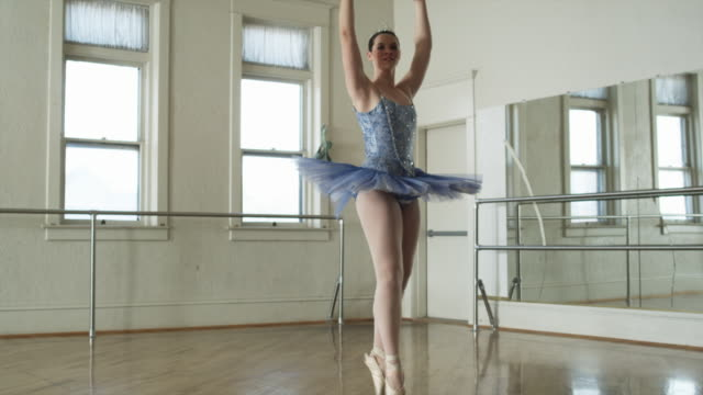 ballerina in blue - en pointe stock videos and b-roll footage