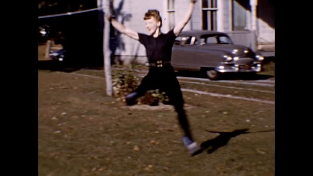 1953 ballerina practicing in backyard - leotard stock videos & royalty-free footage