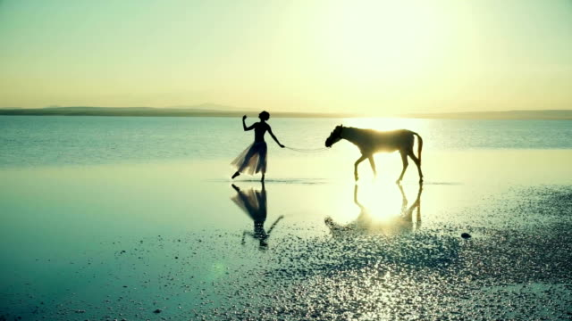 ballerina with horse aesthetic walk on the water - ballet dancer stock videos and b-roll footage