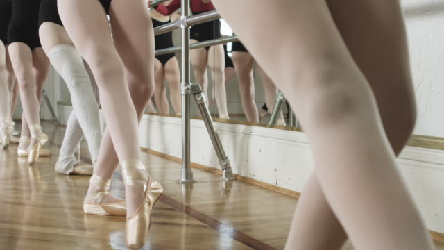 ballerinas in a dance studio - ballet shoe stock videos and b-roll footage