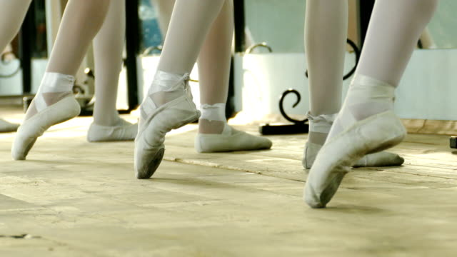 ballerinas in pointe shoes at the ballet class - ballet shoe stock videos and b-roll footage