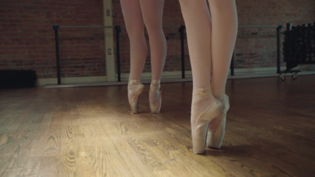 ballerinas on toes - relevé - ballet shoe stock videos and b-roll footage