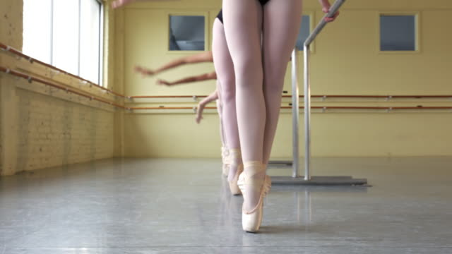 Ballerinas practicing at the barre