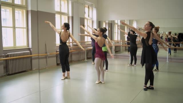 Ballerinas practising their posture