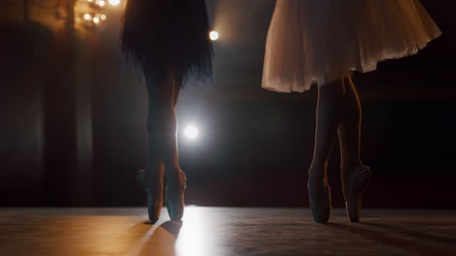 slo mo ballerina's shoes while they rehearsing on the stage - human limb stock videos & royalty-free footage