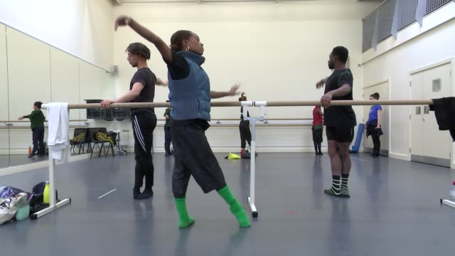 ballet black aims to attract a more diverse audience to the art; england: london: int gv ballet dancers practising in dance studio low angle shot... - cushion stock videos & royalty-free footage