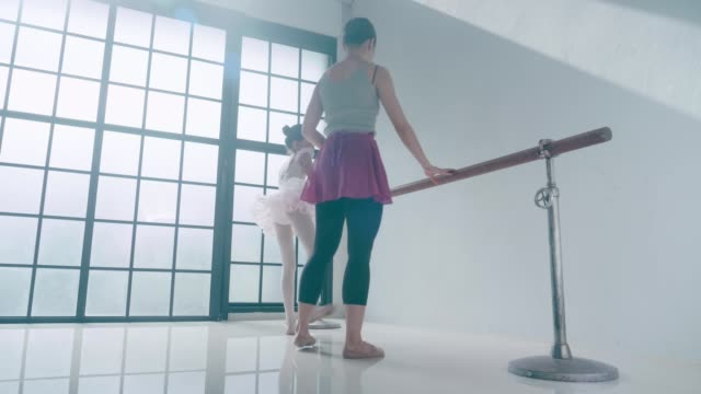 ballet coach and her cute ballerina girl with ballet dancing class - leotard stock videos & royalty-free footage