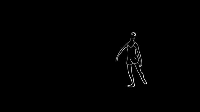 vídeos de stock e filmes b-roll de ballet dancer animation - andar em bico de pés