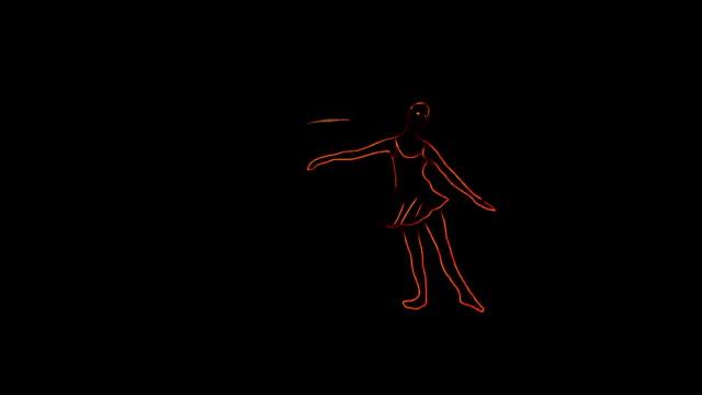 vídeos de stock e filmes b-roll de ballet dancer animation with ribbon - andar em bico de pés