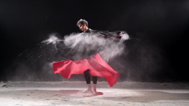 ballet dancer dancing with powder snow at studio. - performing arts event stock videos & royalty-free footage