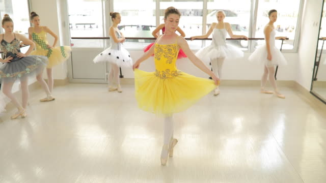 ballett tänzerin mädchen im gelben kleid - auf den zehenspitzen stock-videos und b-roll-filmmaterial