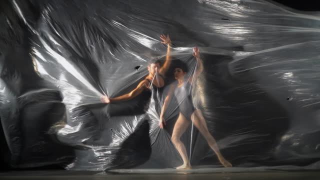 ballet dancers dancing behind thin nylon - ballet dancer stock videos & royalty-free footage