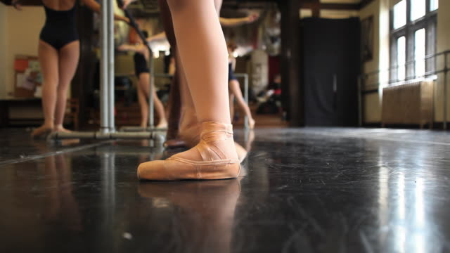 cu ballet dancers during class working on various feet positions / chicago, illinois, usa - ballet dancing stock videos & royalty-free footage
